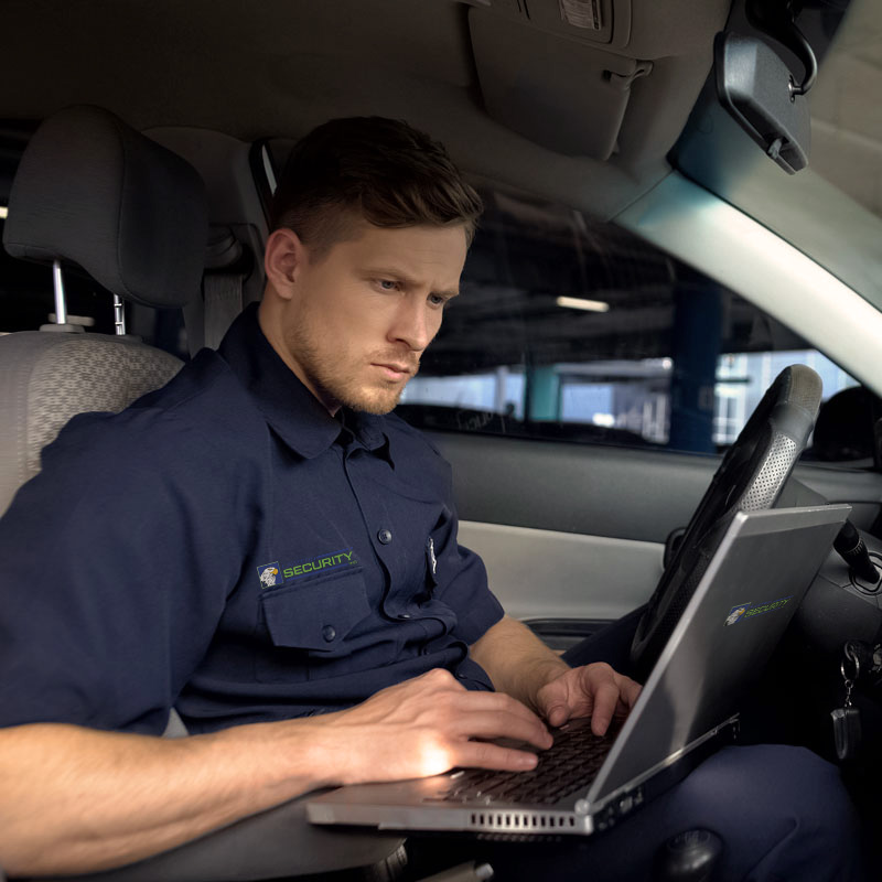 Security Guard in Patrol Vehicle